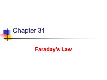 Chapter 31 Faraday's Law. Michael Faraday Great experimental physicist Great experimental physicist 1791 – 1867 1791 – 1867 Contributions to early electricity.