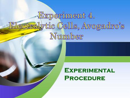Experimental Procedure. Overview The Product that result from the electrolysis of various salt solutions are observed and identified; these are qualitative.