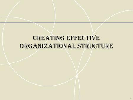 CREATING EFFECTIVE ORGANIZATIONAL STRUCTURE.. Traditional Forms of Organizational Structure Organizational structure  refers to formalized patterns of.