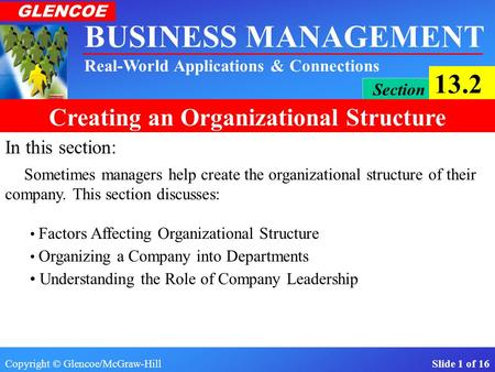Copyright © Glencoe/McGraw-Hill Slide 1 of 16 BUSINESS MANAGEMENT Real-World Applications & Connections GLENCOE Section 13.2 Creating an Organizational.