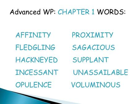Advanced WP: CHAPTER 1 WORDS: