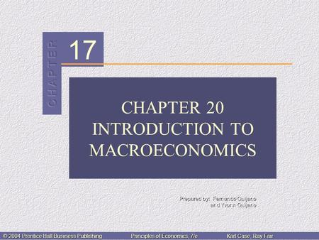 17 Prepared by: Fernando Quijano and Yvonn Quijano © 2004 Prentice Hall Business PublishingPrinciples of Economics, 7/eKarl Case, Ray Fair CHAPTER 20 INTRODUCTION.