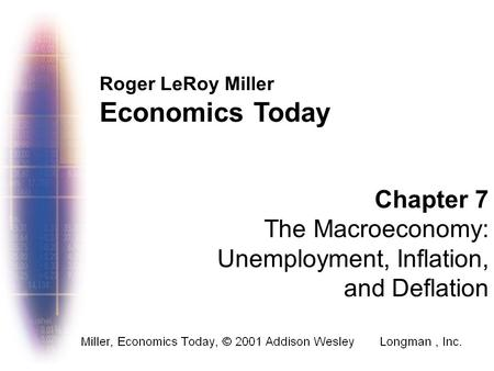 Roger LeRoy Miller Economics Today Chapter 7 The Macroeconomy: Unemployment, Inflation, and Deflation.