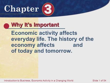 Introduction to Business, Economic Activity in a Changing World Slide 1 of 54 Why It's Important Economic activity affects everyday life. The history of.