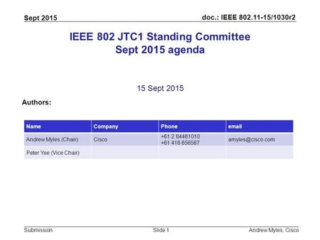 Doc.: IEEE 802.11-15/1030r2 Submission Sept 2015 Andrew Myles, CiscoSlide 1 IEEE 802 JTC1 Standing Committee Sept 2015 agenda 15 Sept 2015 Authors: NameCompanyPhoneemail.