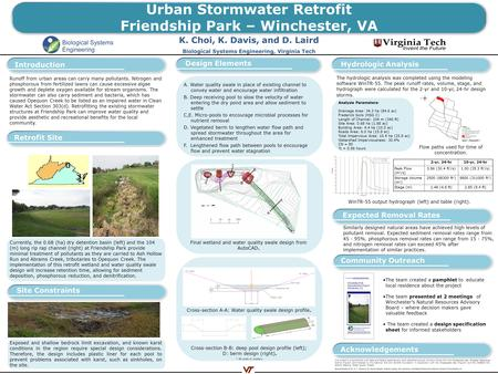 Urban Stormwater Retrofit Friendship Park – Winchester, VA K. Choi, K. Davis, and D. Laird Biological Systems Engineering, Virginia Tech Introduction Exposed.