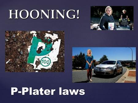 { P-Plater laws.   Must carry driver licence when driving.   Must display red P plates. Must not use a mobile phone of any kind. No hands-free or.