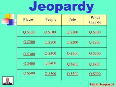 Jeopardy PlacesPeopleJobs What they do Q $100 Q $200 Q $300 Q $400 Q $500 Q $100 Q $200 Q $300 Q $400 Q $500 Final Jeopardy.