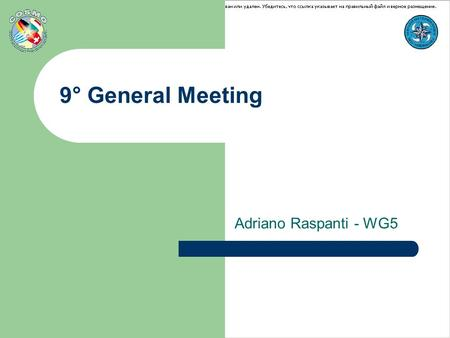 "9° General Meeting Adriano Raspanti - WG5. 9° General MeetingAthens 18-21 September Future plans CV-VerSUS project future plans COSI ""The Score"" new package."