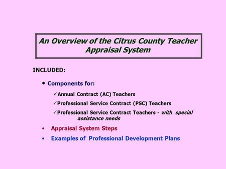 INCLUDED: Components for: Annual Contract (AC) Teachers Professional Service Contract (PSC) Teachers Professional Service Contract Teachers - with special.