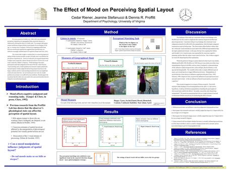 The Effect of Mood on Perceiving Spatial Layout Cedar Riener, Jeanine Stefanucci & Dennis R. Proffitt Department of Psychology, University of Virginia.