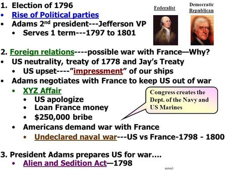 Notes3 1.Election of 1796 Rise of Political parties Adams 2 nd president---Jefferson VP Serves 1 term---1797 to 1801 2. Foreign relations----possible war.