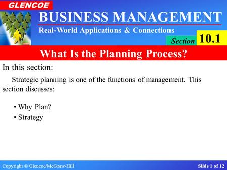 Copyright © Glencoe/McGraw-Hill Slide 1 of 12 BUSINESS MANAGEMENT Real-World Applications & Connections GLENCOE Section 10.1 What Is the Planning Process?