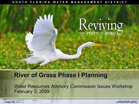 River of Grass Phase I Planning Water Resources Advisory Commission Issues Workshop February 3, 2009.