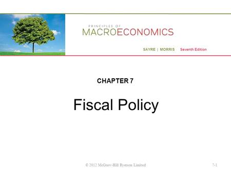 SAYRE | MORRIS Seventh Edition Fiscal Policy CHAPTER 7 7-1© 2012 McGraw-Hill Ryerson Limited.