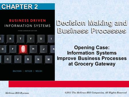 McGraw-Hill-Ryerson ©2011 The McGraw-Hill Companies, All Rights Reserved CHAPTER 2 Decision Making and Business Processes Opening Case: Information Systems.