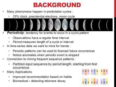BACKGROUND Many phenomena happen in predictable cycles : CPU clock, presidential elections, moon cycle Periodicity : tendency for events to occur in a.