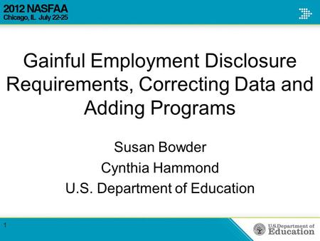 Gainful Employment Disclosure Requirements, Correcting Data and Adding Programs Susan Bowder Cynthia Hammond U.S. Department of Education 1.