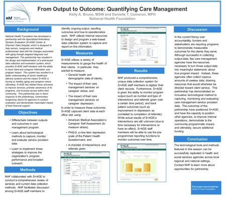 From Output to Outcome: Quantifying Care Management Kelly A. Bruno, MSW and Danielle T. Cameron, MPH National Health Foundation Background Objectives Methods.