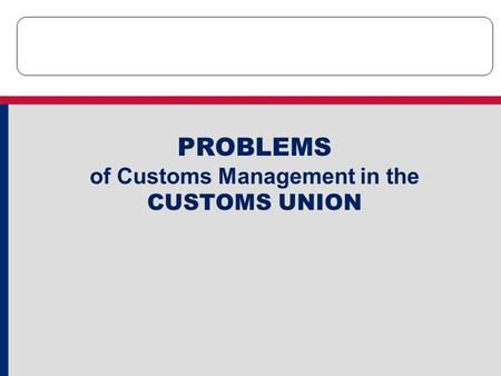 PROBLEMS of Customs Management in the CUSTOMS UNION.