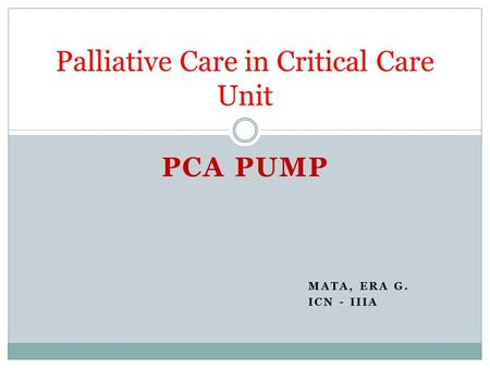 Palliative Care in Critical Care Unit