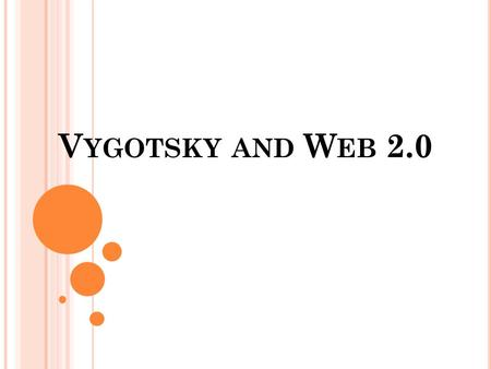 V YGOTSKY AND W EB 2.0. W HO WAS V YGOTSKY ? Vygotsky was a Russian psychologist. He was interested in studying how we learn and develop our cognitive.
