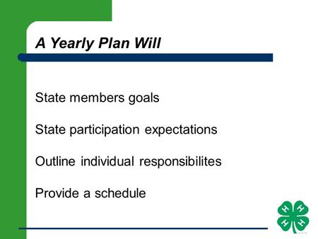 A Yearly Plan Will State members goals State participation expectations Outline individual responsibilites Provide a schedule.