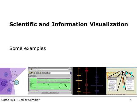 Comp 401 – Senior Seminar 11 Scientific and Information Visualization Some examples.