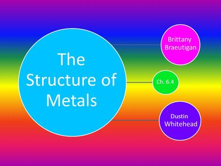 The Structure of Metals Brittany Braeutigan Ch. 6.4 Dustin Whitehead.