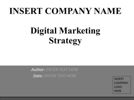 INSERT COMPANY NAME Digital Marketing Strategy Author: ENTER TEXT HERE Date: ENTER TEXT HERE INSERT COMPANY LOGO HERE.