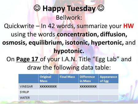 Happy Tuesday Bellwork: Quickwrite – In 42 words, summarize your HW using the words concentration, diffusion, osmosis, equilibrium, isotonic, hypertonic,
