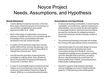Noyce Project Needs, Assumptions, and Hypothesis Needs Statement Careful attention to teacher induction, in the first three years of teaching assists novice.