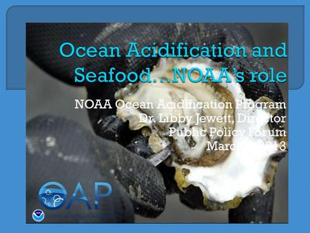 NOAA Ocean Acidification Program Dr. Libby Jewett, Director Public Policy Forum March 6,2013.
