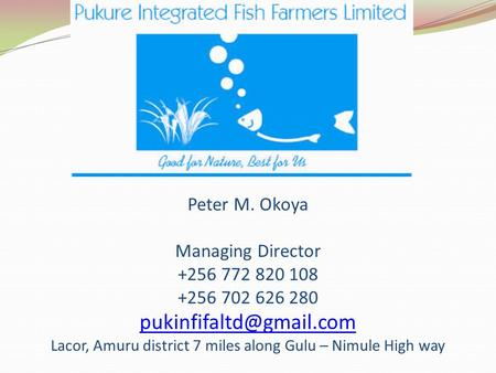 Peter M. Okoya Managing Director +256 772 820 108 +256 702 626 280 Lacor, Amuru district 7 miles along Gulu – Nimule High way