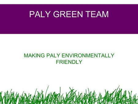 PALY GREEN TEAM MAKING PALY ENVIRONMENTALLY FRIENDLY.