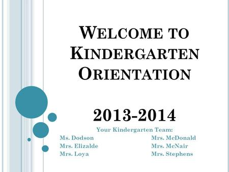 W ELCOME TO K INDERGARTEN O RIENTATION 2013-2014 Your Kindergarten Team: Ms. DodsonMrs. McDonald Mrs. ElizaldeMrs. McNair Mrs. LoyaMrs. Stephens.