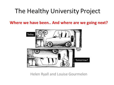 The Healthy University Project Where we have been.. And where are we going next? Helen Ryall and Louise Gourmelen.