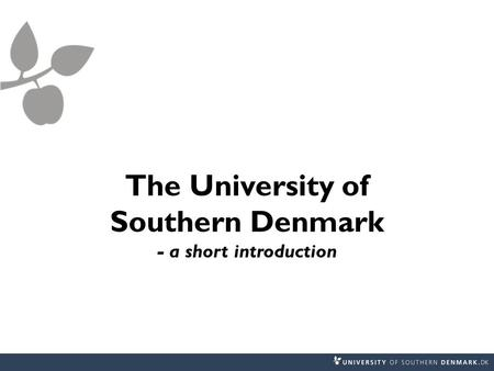 The University of Southern Denmark - a short introduction.