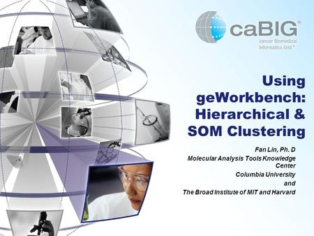 Using geWorkbench: Hierarchical & SOM Clustering Fan Lin, Ph. D Molecular Analysis Tools Knowledge Center Columbia University and The Broad Institute of.