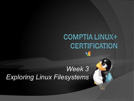 Week 3 Exploring Linux Filesystems. Objectives  Understand and navigate the Linux directory structure using relative and absolute pathnames  Describe.