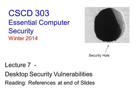 CSCD 303 Essential Computer Security Winter 2014 Lecture 7 - Desktop Security Vulnerabilities Reading: References at end of Slides Security Hole.