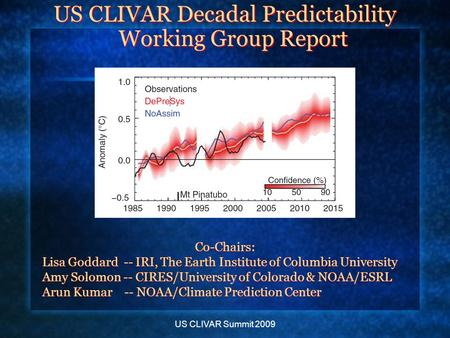 US CLIVAR Summit 2009 US CLIVAR Decadal Predictability Working Group Report Co-Chairs: Lisa Goddard -- IRI, The Earth Institute of Columbia University.