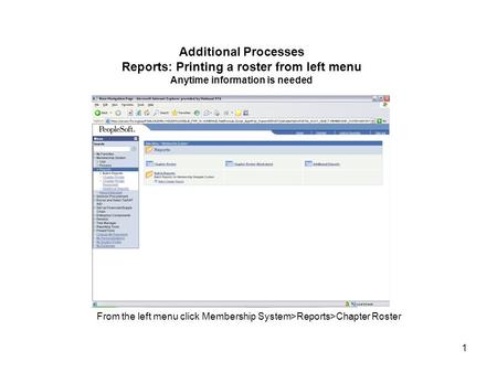 1 Additional Processes Reports: Printing a roster from left menu Anytime information is needed From the left menu click Membership System>Reports>Chapter.