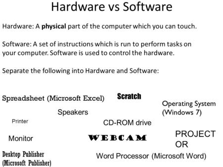 Hardware vs Software Hardware: A physical part of the computer which you can touch. Software: A set of instructions which is run to perform tasks on your.