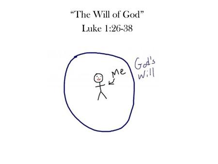 """The Will of God"" Luke 1:26-38. ""The Will of God"" Luke 1:26-38 Preceptive will – His laws and commands Decretive will – His sovereign plans Dispositional."