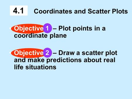 Coordinates and Scatter Plots 4.1 Objective 1 – Plot points in a coordinate plane Objective 2 – Draw a scatter plot and make predictions about real life.