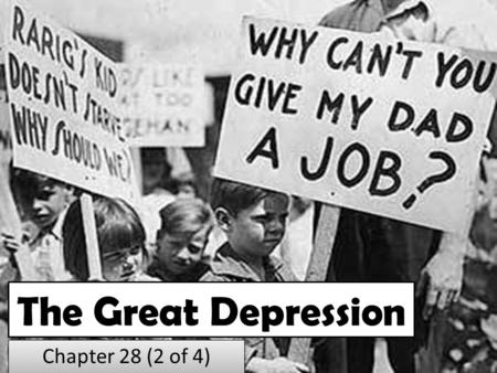 The Great Depression Chapter 28 (2 of 4). WW1 Ends, But Financial Problems Begin.