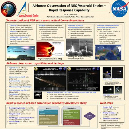 Jay H. Grinstead Aerothermodynamics Branch, NASA Ames Research Center Airborne Observation of NEO/Asteroid Entries – Rapid Response Capability Airborne.