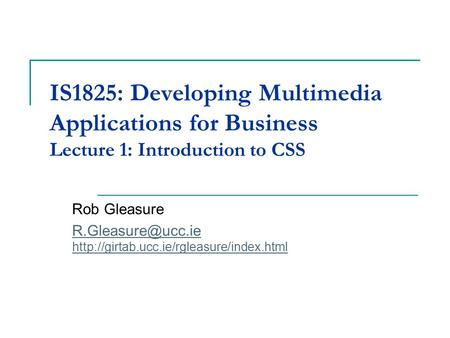 IS1825: Developing Multimedia Applications for Business Lecture 1: Introduction to CSS Rob Gleasure