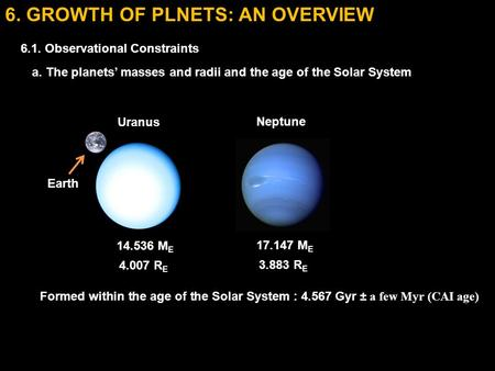6. GROWTH OF PLNETS: AN OVERVIEW 6.1. Observational Constraints a. The planets' masses and radii and the age of the Solar System 17.147 M E 3.883 R E Neptune.